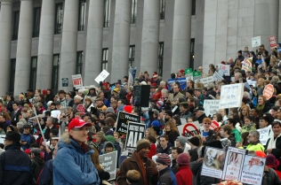 Participants in the March of Life gather on the steps of the Legislative Building in Olympia, Wash.