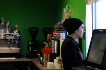 A Battle Bean barista takes the order of a customer at the new drive-thru.