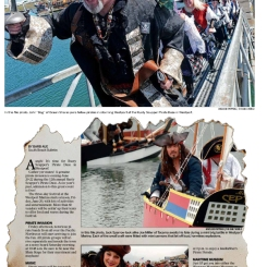 One of my favorite designs integrated a stock image with past photos of the Pirate Daze celebration in Westport, Wash.