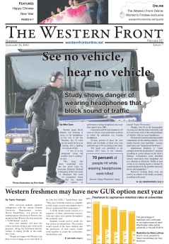 Use of photo illustration as dominant art on front page of Western Washington University's campus newspaper
